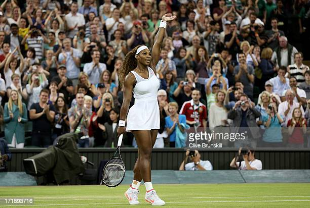 Serena Williams of the United States of America celebrates match point during the Ladies' Singles third round match against Kimiko DateKrumm of Japan...