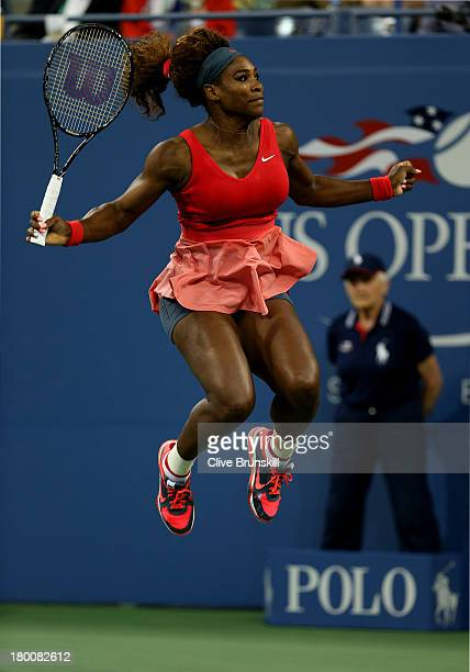 Serena Williams of the United States of America celebrates winning her women's singles final match against Victoria Azarenka of Belarus on Day...