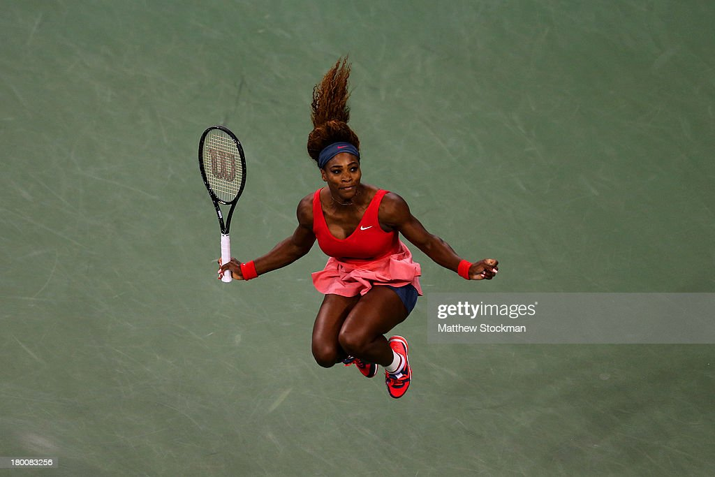 Serena Williams of the United States of America celebrates winning her women's singles final match against Victoria Azarenka of Belarus on Day Fourteen of the 2013 US Open at the USTA Billie Jean King National Tennis Center on September 8, 2013 in the Flushing neighborhood of the Queens borough of New York City.