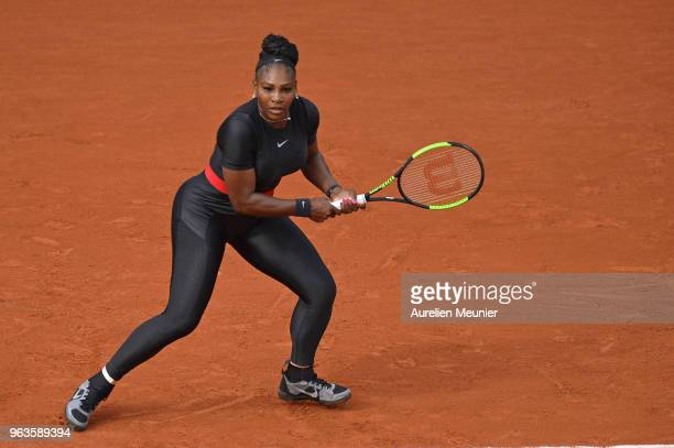 Serena Williams of The United States of America in action during her women's singles first round match against Kristyna Pliskova of Czech Republic...