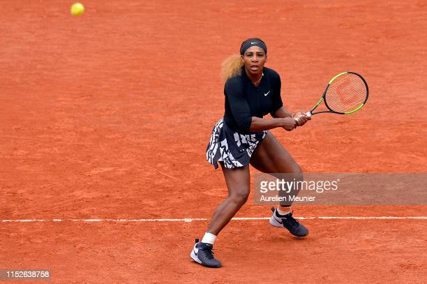 Serena Williams of The United States of America plays a backhand during her ladies singles first round match against Kurumi Nara of Japan during Day...