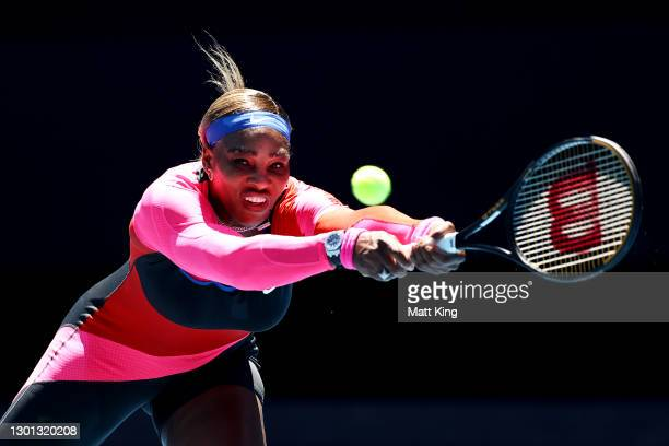 Serena Williams of the United States of America plays a backhand in her Women's Singles second round match against against Nina Stojanovic of Serbia...