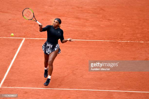 Serena Williams of The United States of America plays a forehand during her ladies singles first round match against Kurumi Nara of Japan during Day...