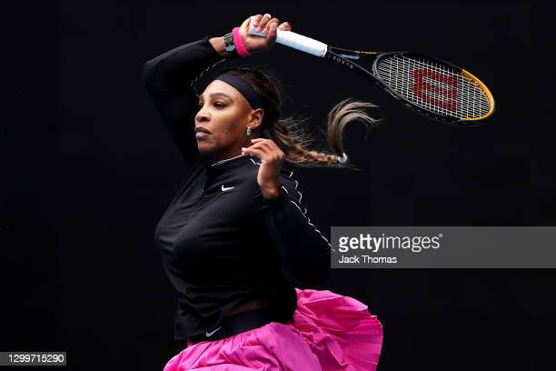 Serena Williams of The United States of America plays a forehand in her Women's Singles Round of 32 match against Daria Gavrilova of Australia during...