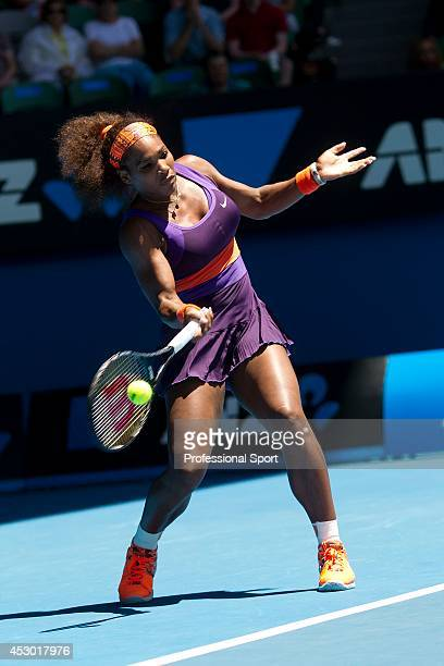 Serena Williams of the United States of America plays a forehand in her Quarterfinal match against Sloane Stephens of the United States of America...