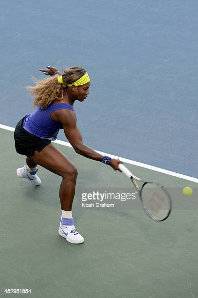 Serena Williams of the United States of America plays against Karolina Pliskova of the Czech Republic during Day 3 of the Bank of the West Classic at...