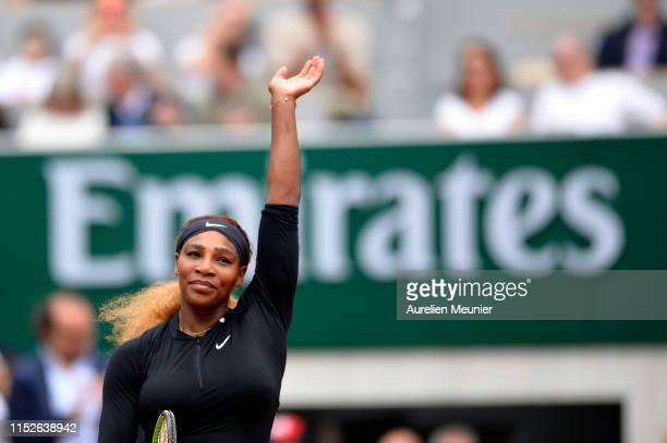 Serena Williams of The United States of America reacts after winning her ladies singles first round match against Kurumi Nara of Japan during Day...