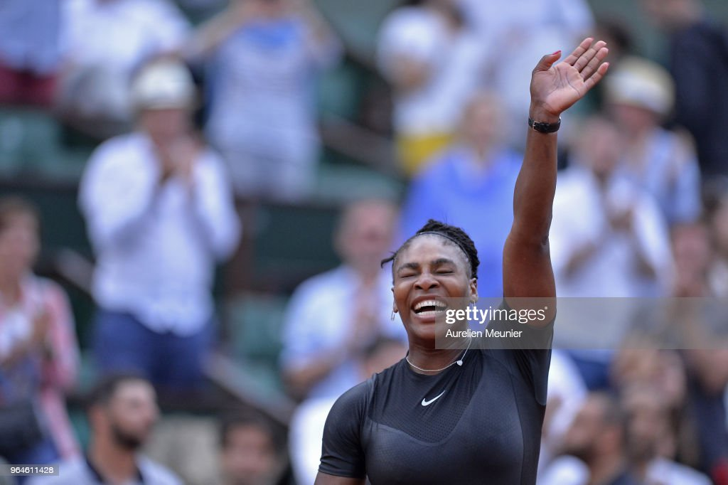 Serena Williams of The United States of America reacts after winning her womens singles second round match against Ashleigh Barty of Australia during day 5 of the 2018 French Open at Roland Garros on May 31, 2018 in Paris, France.