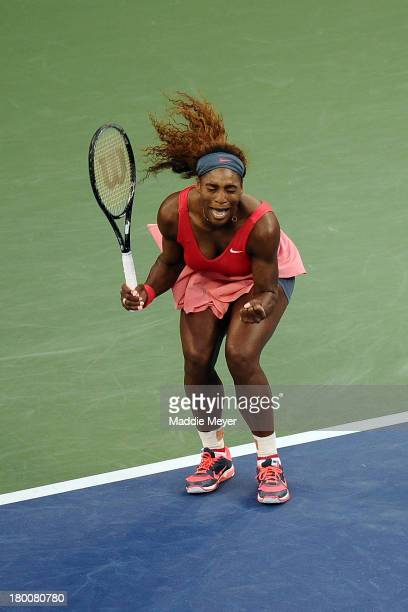 Serena Williams of the United States of America reacts during her women's singles final match against Victoria Azarenka of Belarus on Day Fourteen of...