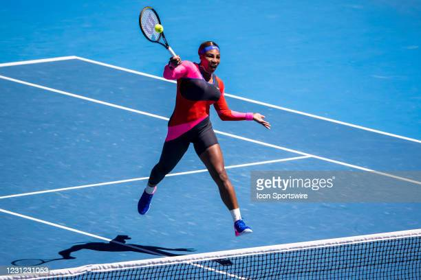 Serena Williams of the United States of America returns the ball during the semifinals of the 2021 Australian Open on February 18 at Melbourne Park...