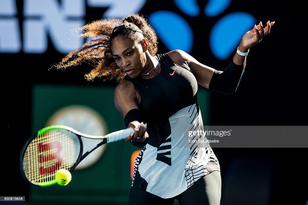 Serena Williams of the United States of America returns the ball during the Semi-finals of the 2017 Australian Open on January 26, 2017, at Melbourne Park Tennis Centre in Melbourne, Australia.