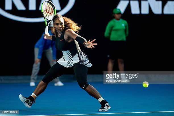 Serena Williams of the United States of America returns the ball during the Semifinals of the 2017 Australian Open on January 26 at Melbourne Park...