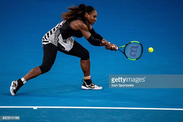 Serena Williams of the United States of America returns the ball during the Womens Singles Final of the 2017 Australian Open on January 28 at...