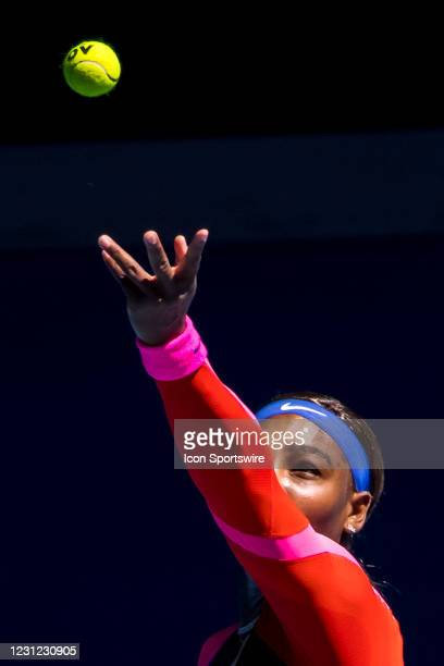 Serena Williams of the United States of America serves the ball during the semifinals of the 2021 Australian Open on February 18 2021, at Melbourne...