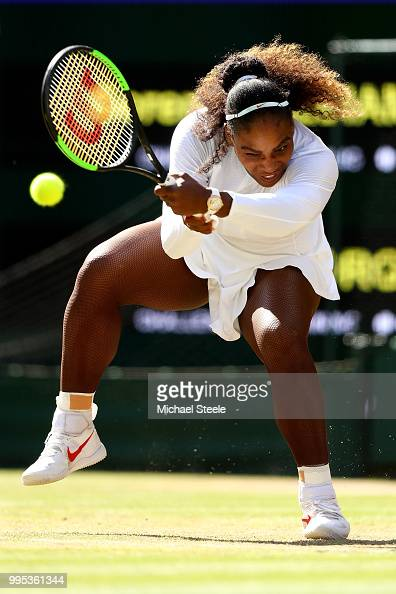 Serena Williams of the United States plays a backhand against Camila Giorgi of Italy during their Ladies' Singles QuarterFinals match on day eight of...