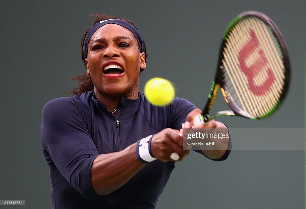 Serena Williams of the United States plays a backhand against Christina McHale of the United States in their second round match during the Miami Open Presented by Itau at Crandon Park Tennis Center on March 24, 2016 in Key Biscayne, Florida.