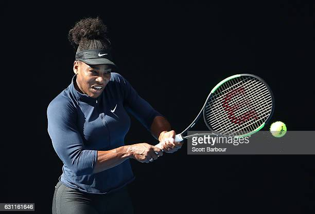 Serena Williams of the United States plays a backhand during a practice session ahead of the 2017 Australian Open at Melbourne Park on January 8 2017...