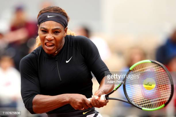 Serena Williams of The United States plays a backhand during her ladies singles first round match against Kurumi Nara of Japan during Day five of the...