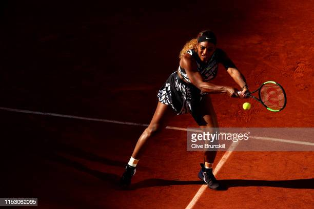 Serena Williams of The United States plays a backhand during her ladies singles third round match against Sofia Kenin of The United States during Day...
