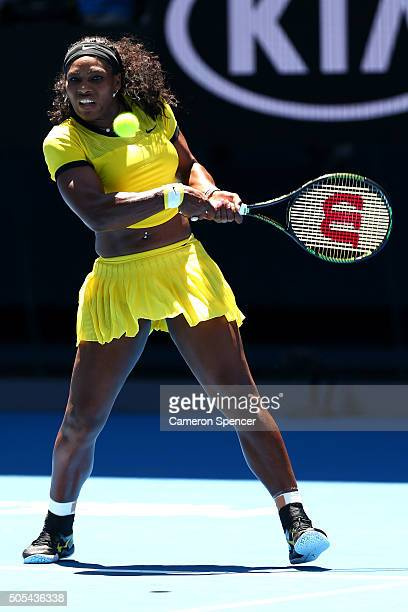 Serena Williams of the United States plays a backhand in her first round match against Camila Giorgi of Italy during day one of the 2016 Australian...