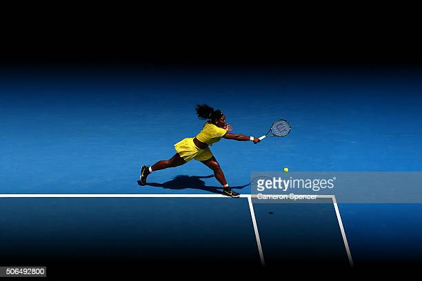 Serena Williams of the United States plays a backhand in her fourth round match against Margarita Gaspatryan of Russia during day seven of the 2016...
