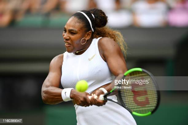 Serena Williams of The United States plays a backhand in her Ladies' Singles third round match against Julia Goerges of Germany during Day six of The...