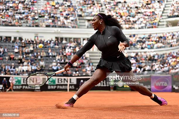 Serena Williams of the United States plays a backhand in her match against Christina Mchale of the United States on Day Five of The Internazionali...