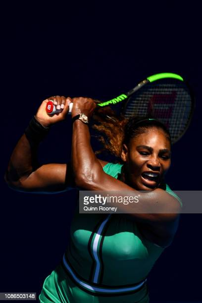 Serena Williams of the United States plays a backhand in her quarter final match against Karolina Pliskova of Czech Republic during day 10 of the...