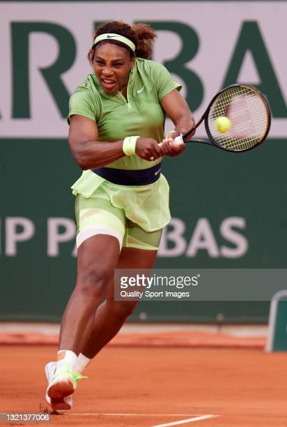 Serena Williams of the United States plays a backhand shot in her Second Round match against Mihaela Buzarnescu of Romania during day four of the...