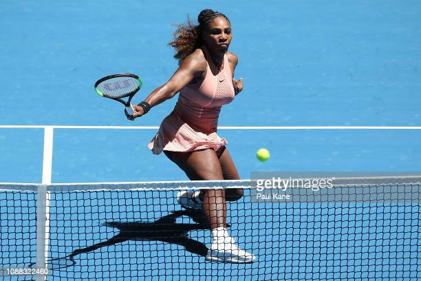 Serena Williams of the United States plays a backhand to Maria Sakkari of Greece during day three of the 2019 Hopman Cup at RAC Arena on December 31...