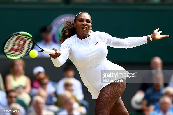 Serena Williams of the United States plays a forehand against Camila Giorgi of Italy during their Ladies' Singles QuarterFinals match on day eight of...