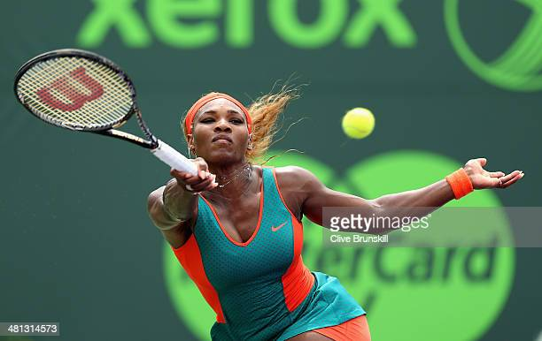 Serena Williams of the United States plays a forehand against Li Na of China during their final match during day 13 at the Sony Open at Crandon Park...