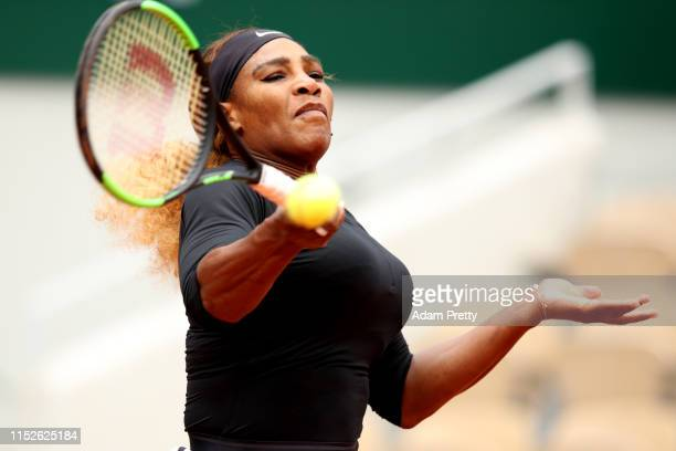 Serena Williams of The United States plays a forehand during her ladies singles first round match against Kurumi Nara of Japan during Day five of the...