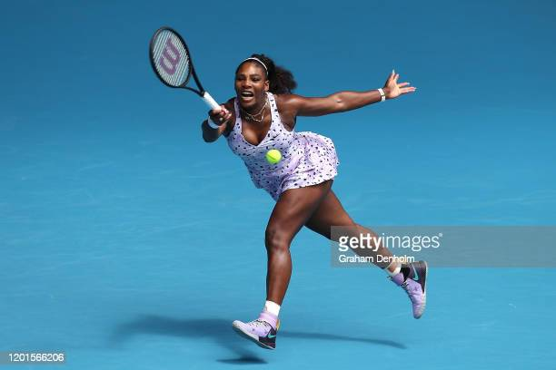 Serena Williams of the United States plays a forehand during her Women's Singles third round match against Qiang Wang of China on day five of the...