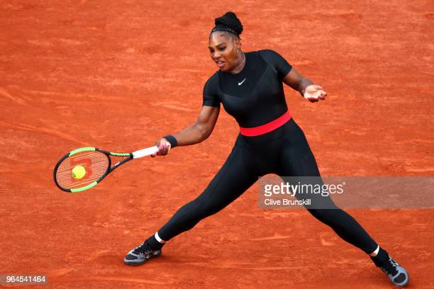 Serena Williams of The United States plays a forehand during the ladies singles second round match against Ashleigh Barty of Ausralia during day five...