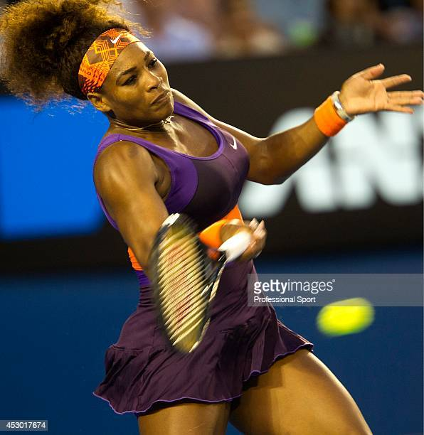Serena Williams of the United States plays a forehand in her fourth round match against Maria Kirilenko of Russia during day eight of the 2013...