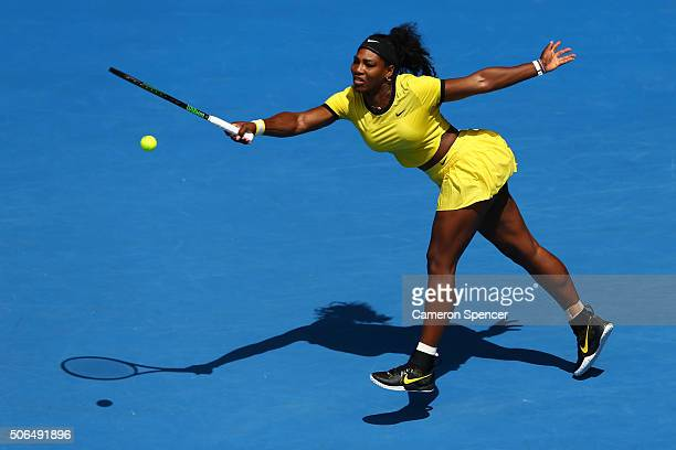 Serena Williams of the United States plays a forehand in her fourth round match against Margarita Gaspatryan of Russia during day seven of the 2016...