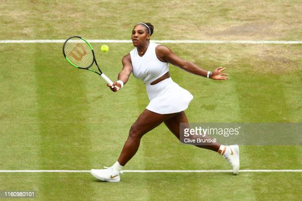 Serena Williams of the United States plays a forehand in her Ladies' Singles Quarter Final match against Alison Riske of the United States during Day...