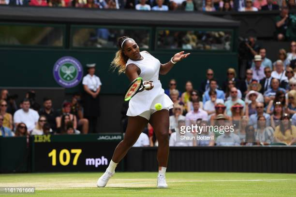 Serena Williams of The United States plays a forehand in her Ladies' Singles final against Simona Halep of Romania during Day twelve of The...