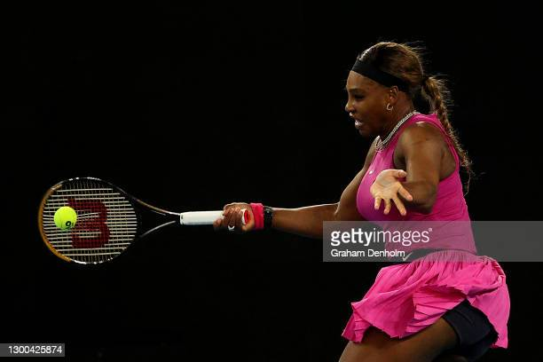 Serena Williams of the United States plays a forehand in her match against Danielle Collins of the United States during day six of the WTA 500 Yarra...