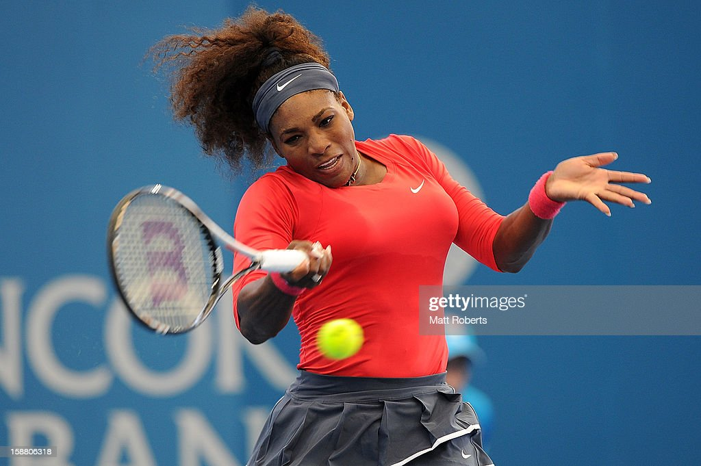 Serena Williams of the United States plays a forehand in her match against Varvara Lepchenko of the United States during day one of the Brisbane International at Pat Rafter Arena on December 30, 2012 in Brisbane, Australia.