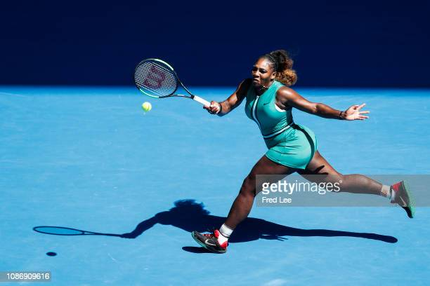 Serena Williams of the United States plays a forehand in her quarter final match against Karolina Pliskova of Czech Republic during day 10 of the...