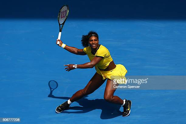 Serena Williams of the United States plays a forehand in her quarter final match against Maria Sharapova of Russia during day nine of the 2016...