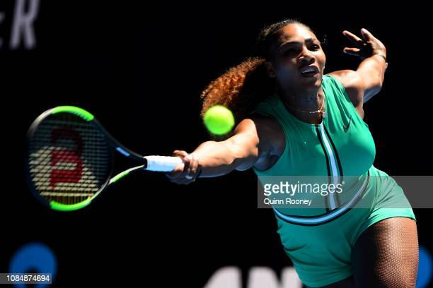 Serena Williams of the United States plays a forehand in her third round match against Dayana Yastremska of Ukraine during day six of the 2019...