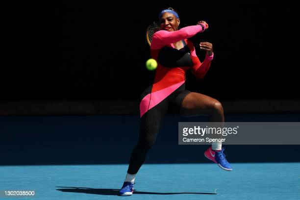 Serena Williams of the United States plays a forehand in her Women's Singles fourth round match against Aryna Sabalenka of Belarus during day seven...