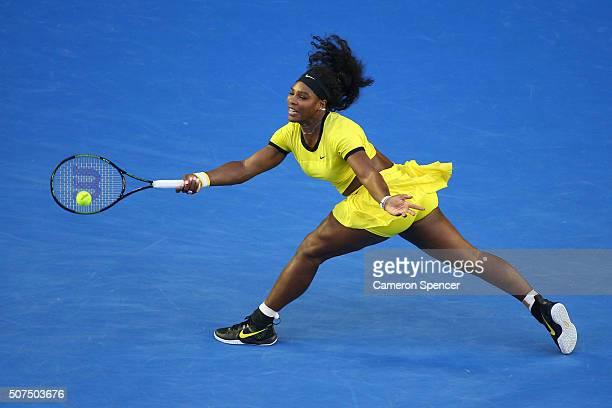 Serena Williams of the United States plays a forehand in her Women's Singles Final match against Angelique Kerber of Germany during day 13 of the...