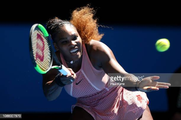 Serena Williams of the United States plays a forehand to Maria Sakkari of Greece during day three of the 2019 Hopman Cup at RAC Arena on December 31...
