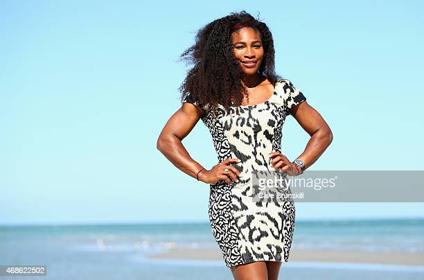Serena Williams of the United States poses for a photograph on Crandon Park beach after her straight sets victory against Carla Suarez Navarro of...