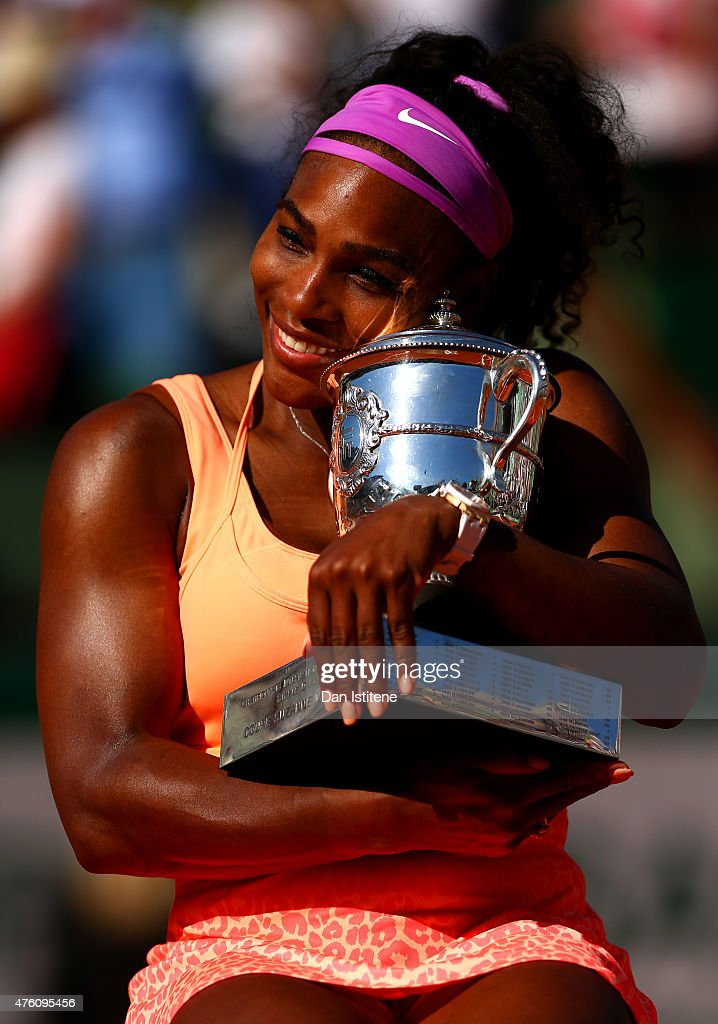 Serena Williams of the United States poses with the Coupe Suzanne Lenglen trophy after winning the Women's Singles Final against Lucie Safarova of Czech Repbulic on day fourteen of the 2015 French Open at Roland Garros on June 6, 2015 in Paris, France.