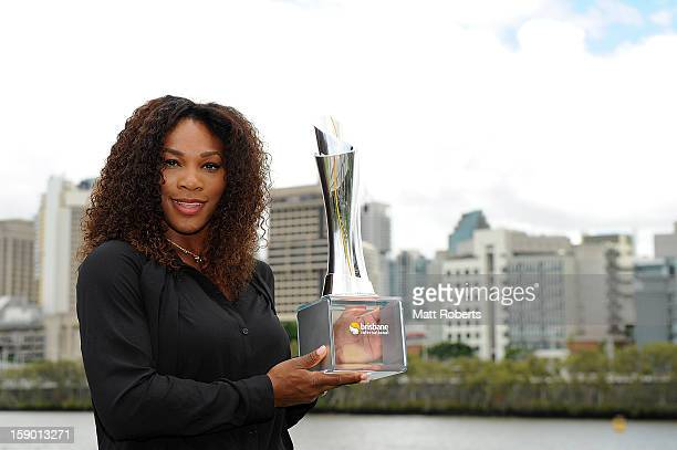 Serena Williams of the United States poses with the Yvonne Goolagong winners trophy after yesterday winning the Women's final match against Anastasia...